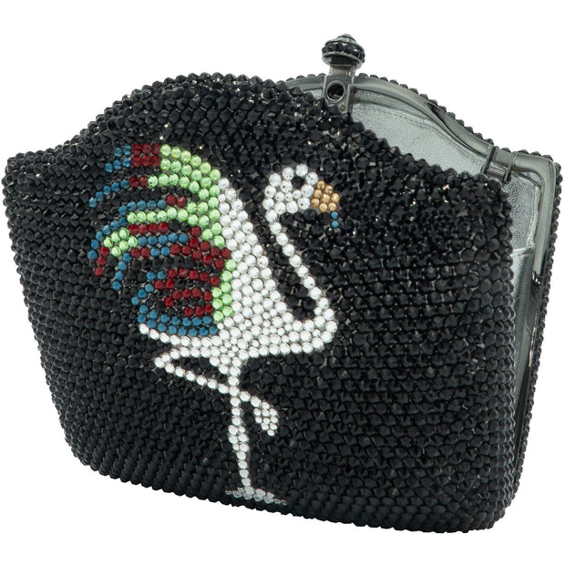 Flamingo Centrepiece Swarovski Elements Black Clutch  - GLAM CONFIDENTIAL