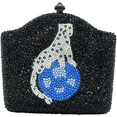 Panther Centrepiece In Blue Swarovski Elements On Black Clutch Bag - GLAM CONFIDENTIAL