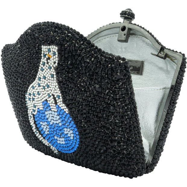 Panther Centrepiece In Blue Swarovski Elements On Black Clutch- GLAM CONFIDENTIAL
