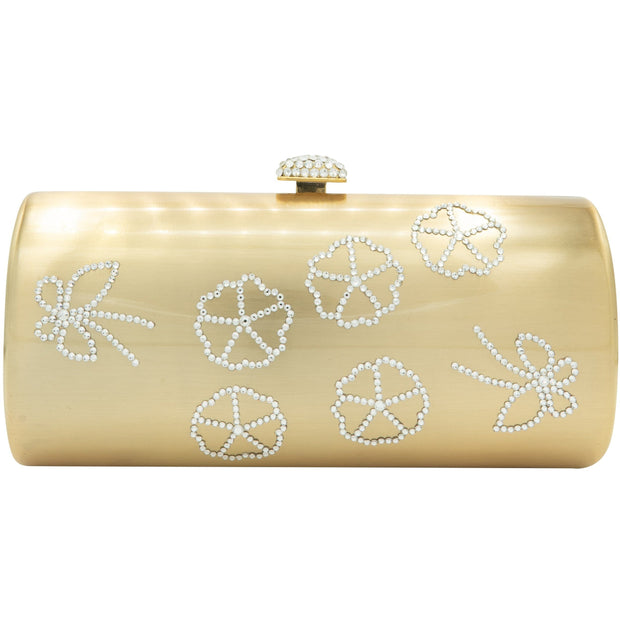 Tubular Shaped Swarovski Elements Gold Plated Clutch Bag - GLAM CONFIDENTIAL