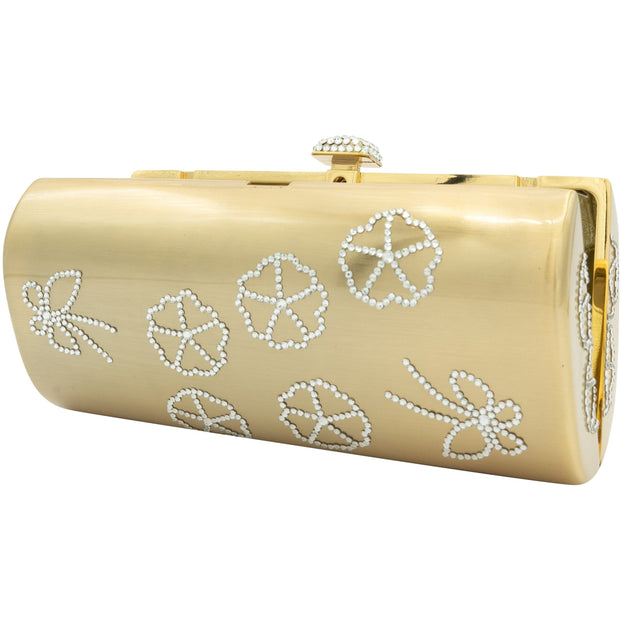 Tubular Shaped Swarovski Elements Gold Plated Clutch - GLAM CONFIDENTIAL