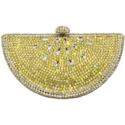 FRUTTA WATERMELON SHAPE SILVER/YELLOW CRYSTALS BAG-GCB8001