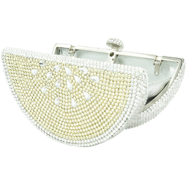 FRUTTA WATERMELON SHAPE SILVER/YELLOW CRYSTALS BAG-GCB8001 - GLAM CONFIDENTIAL