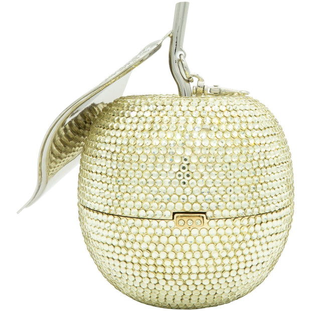 Apple Shape Gold Clutch Bag with Silver Crystals Leaf - GLAM CONFIDENTIAL