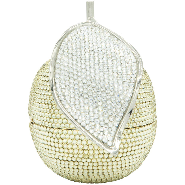Apple Shape Gold Crystals Evening Clutch Bag with Silver Crystals Leaf - GLAM CONFIDENTIAL- GLAM CONFIDENTIAL