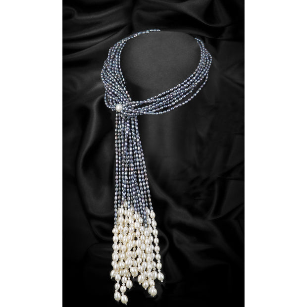 Grey Multi-Strand Scarf Freshwater Pearl Necklace-GCFP1007G - GLAM CONFIDENTIAL