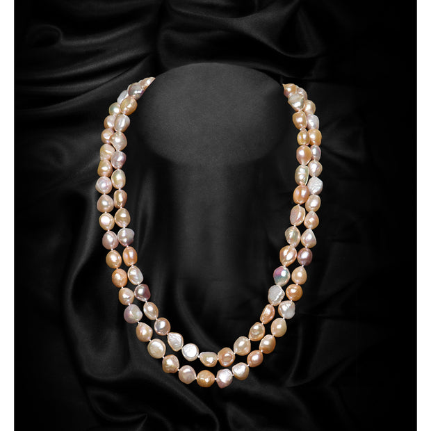 Peach Single Strand Extra Large Baroque Freshwater Pearl Necklace