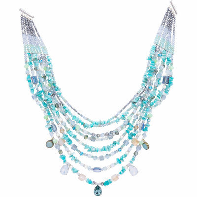 Turquoise And Aquamarine Necklace Inspired By the Sea At Positano -GLAM CONFIDENTIAL