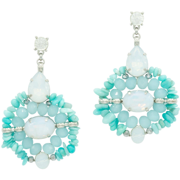 Turquoise And Milk Rock Crystals Round Earrings
