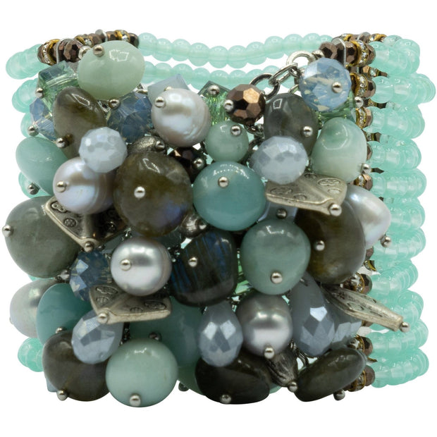 Bracelet with Aquamarine Beads Swarovski Crystals and Pearls-GLAM CONFIDENTIAL