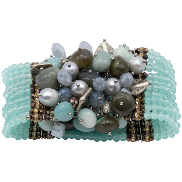 Bracelet with Beads of Aquamarine Swarovski Crystals and Pearls-GLAM CONFIDENTIAL