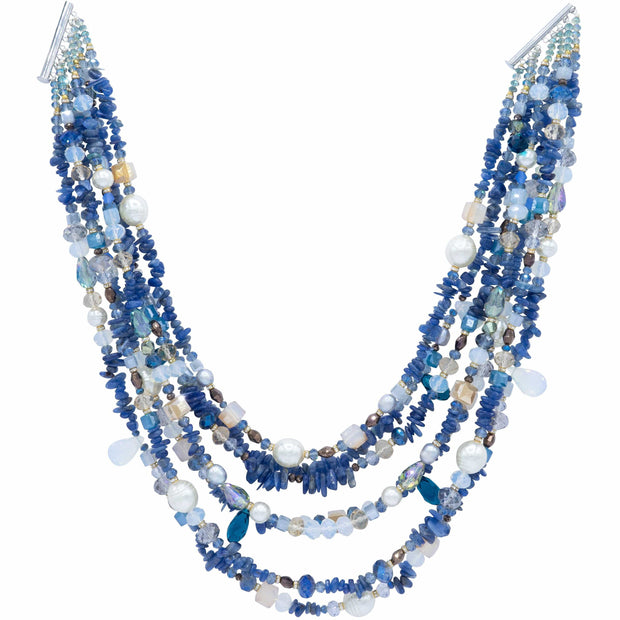 Multi Strands Necklace of Sea Shell Pearls Lapis Lazuli and Blue Crystals- GLAM CONFIDENTIAL