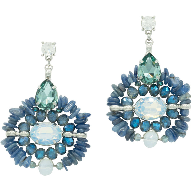 Lapis lazuli, dark blue sapphire and milk rock crystals Earrings-GLAM CONFIDENTIAL