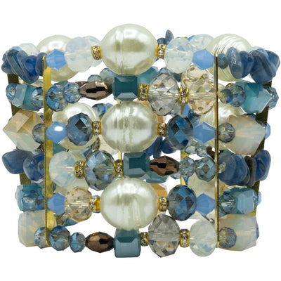Lapis Lazuli Baroque Pearls and Swarovski Crystals Multi Strands Bracelet