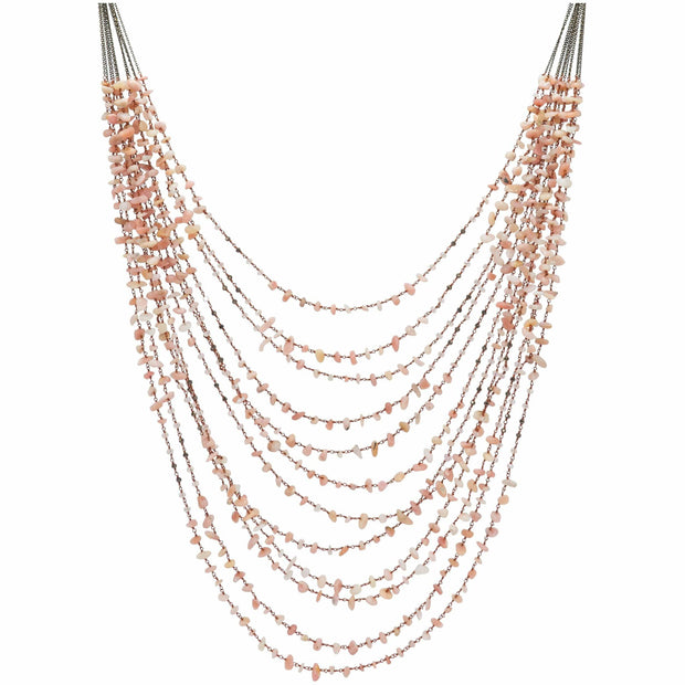 Coral Nuggets Multi Strand Long Necklace