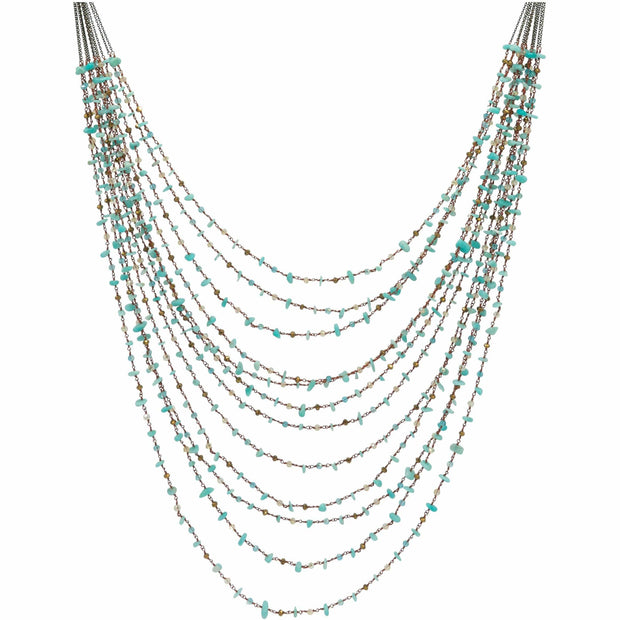 Turquoise Nuggets Multi Strand Long Necklace