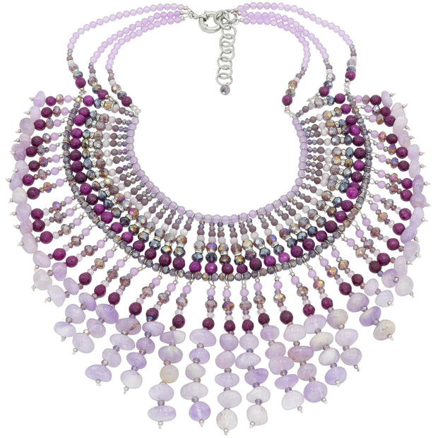 Amethyst And Agate Beads Collar Necklace