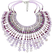 Amethyst And Agate Beads Collar Necklace - GLAM CONFIDENTIAL