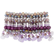 Amethyst and Agate Beads Bracelet with Drops