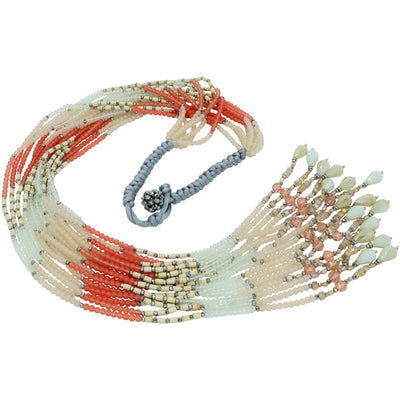 Pink Coral Scarf Necklace