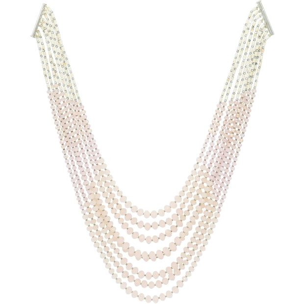 Multi Strand Pink Rock Crystal Necklace