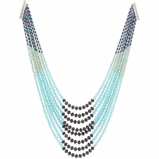 Multi Strand Necklace Of Aquamarine Dark Granate And Mink Crystals