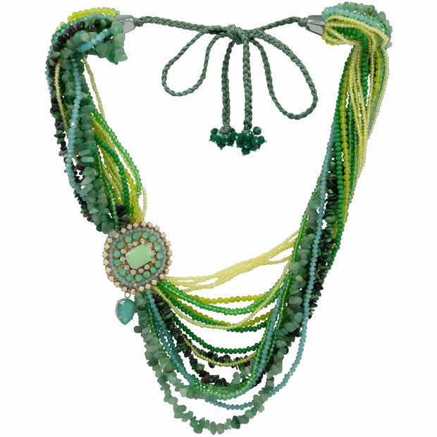 Rough Rubies Tourmaline Peridots Aventurine And Crystal Beads Statement Necklace