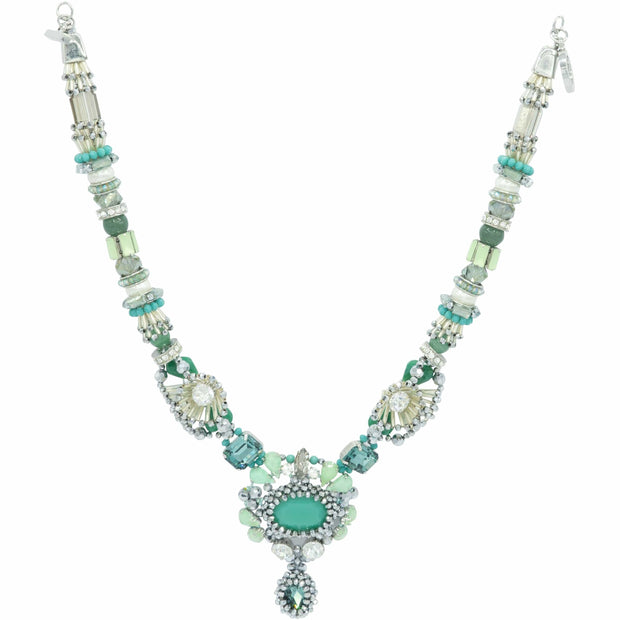 Aquamarine Turquoise Diamante Swarovski And Seashell Pearls Necklace