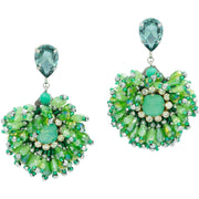 Aqua Agate And Green Swarovski Earrings - GLAM CONFIDENTIAL