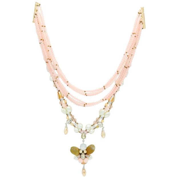 Pink Topaz & Rock Crystals with Bronze Gold beads and Agate Butterfly Mid Length Fashion NecklaceNecklace