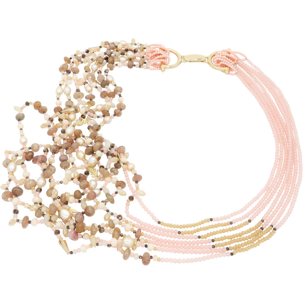 Semi Precious Pink Rock Crystals & Pink Baroque Pearls Long Necklace With Charms