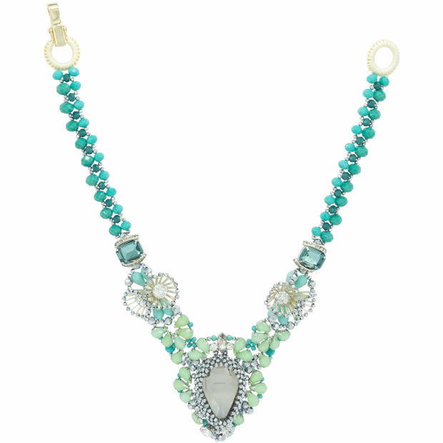 Semi Precious Stones Swarovski Crystals Turquoise Beads Gorgeous Necklace