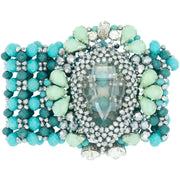 Turquoise Bracelet with Large Smoky Crystal Center Stone