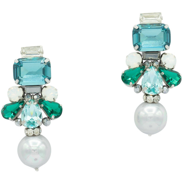 Aquamarine And Light Grey Seashell Pearl Drop Earrings