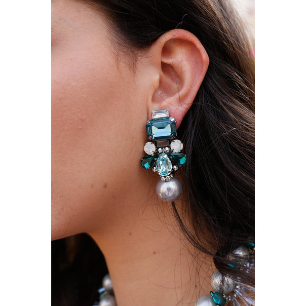 Woman Wearing Aquamarine And Light Grey Seashell Pearl Drop Earrings- GLAM CONFIDENTIAL
