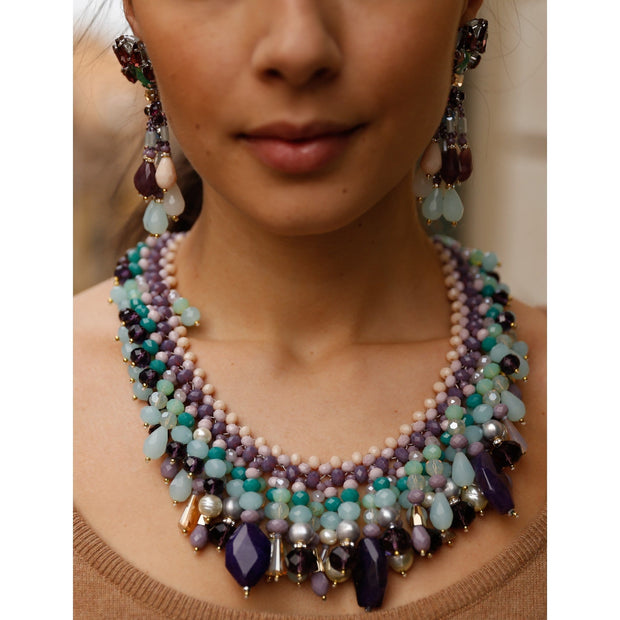 Woman Wearing Aquamarine And Amethyst Necklace And Matching Earrings-GLAM CONFIDENTIAL