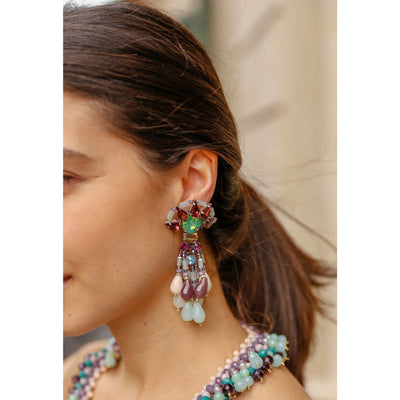 Woman Wearing Aquamarine Chandelier Earrings