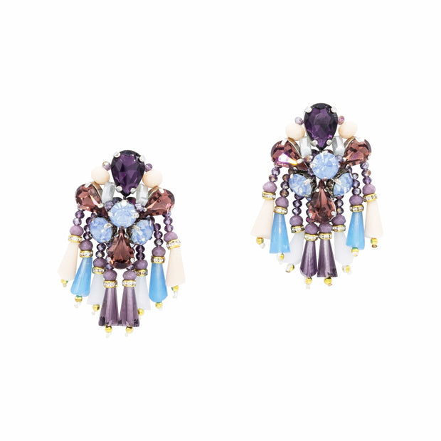 Amethyst Blue Topaz Chandelier Earrings