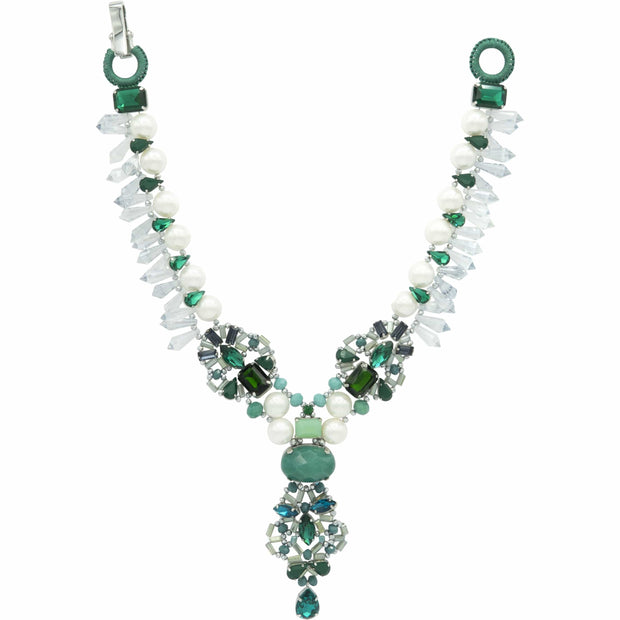 Deep Green Emerald Jade And Large Light Grey Pearls Necklace