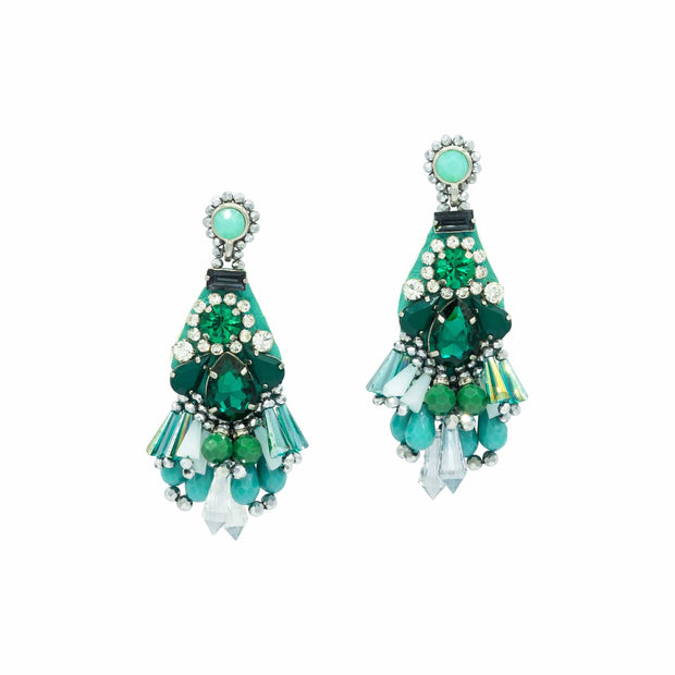 Green Emerald And Milk Rock Crystals Earrings