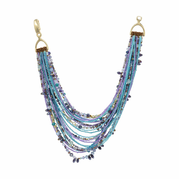 Multi Strand Turquoise Amethyst Topaz And Rock Crystals Necklace