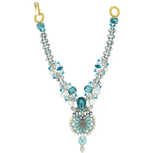 Aquamarine Turquoise And White Seashell Pearls Necklace - GLAM CONFIDENTIAL
