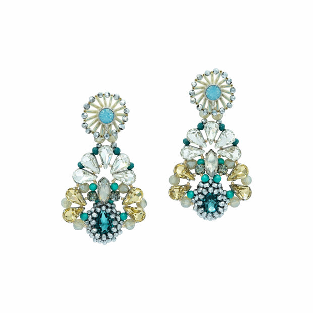 Aquamarine light gold and Turquoise Chandelier Earrings
