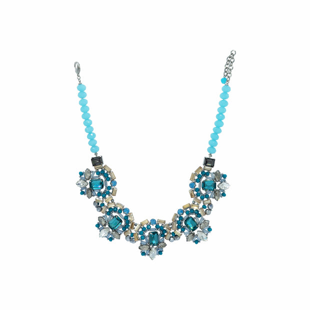 Aquamarine Turquoise Light Topaz And Seashell Pearls Necklace - GLAM CONFIDENTIAL