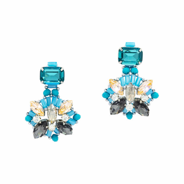 Emerald cut Aquamarine  Citrine Diamante And Topaz Earrings