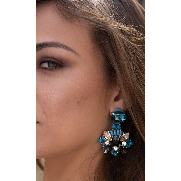 Woman Wearing Emerald cut Aquamarine  Citrine Diamante And Topaz Earrings- GLAM CONFIDENTIAL