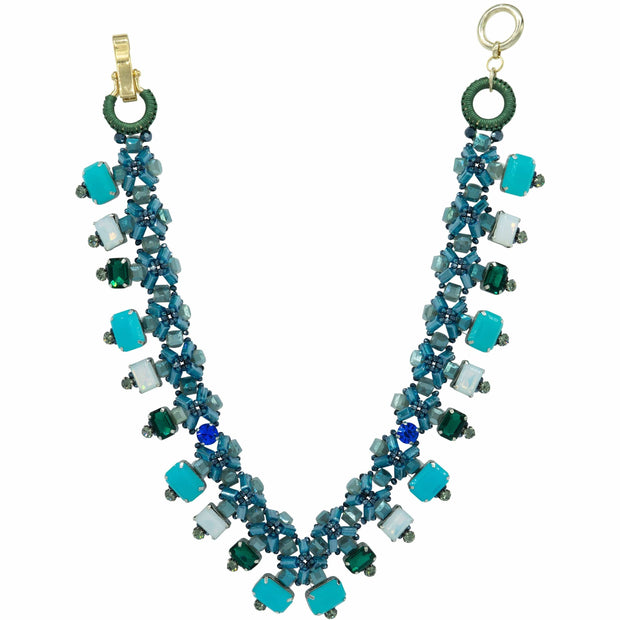 Denim Blue Crystal And Aqua Mid Length Diamante Necklace