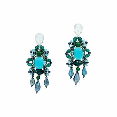 Deep Green And Denim Blue Chandelier Earrings - GLAM CONFIDENTIAL