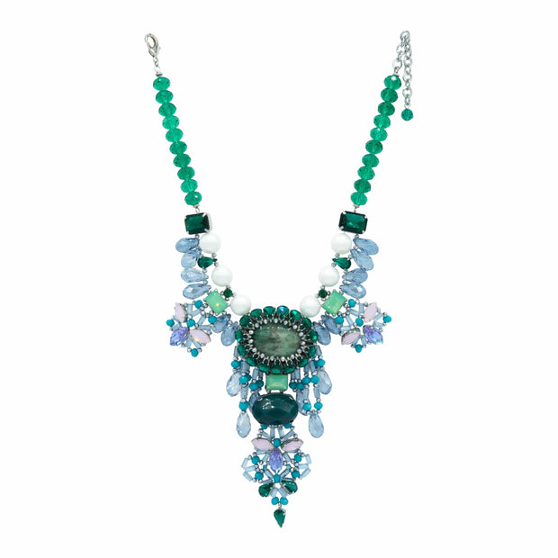 Aqua Green Agate And Emerald Drops Glistening Crystals Necklace - GLAM CONFIDENTIAL