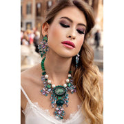 Woman Wearing Matching Amethyst, Emerald Green, Baby Pink Rock Crystals Earrings And Necklace